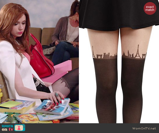 Pamela Mann Paris Skyline Tights worn by Karen Gillan on Selfie