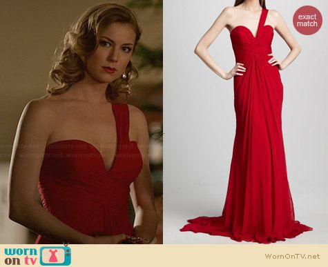 Pamella Roland One Shoulder Gown worn by Emily VanCamp on Revenge