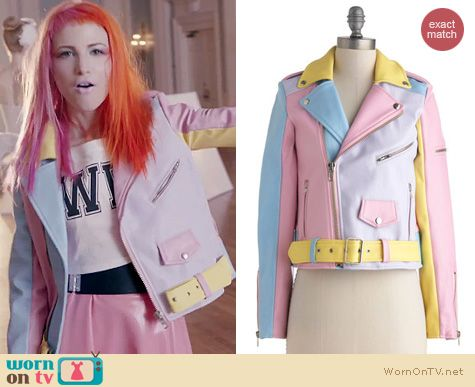 Hayley Williams of Paramore Fashion: Pastel colorblock leather jacket from the