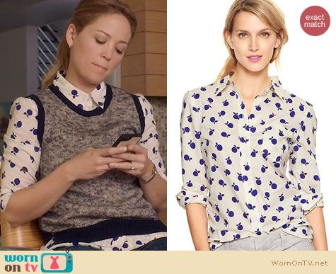 Fashion of Parenthood: GAP Fitted Boyfriend Shirt in Apple Print worn by Erika Christensen