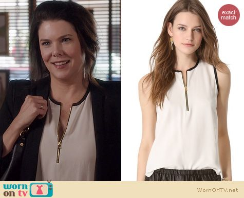 Fashion of Parenthood: L'Agence zip front sleeveless blouse worn by Lauren Graham
