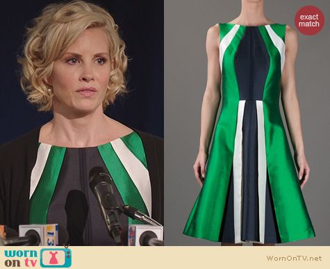 Parenthood Fashion: Michael Kors Green Panel Dress worn by Monica Potter