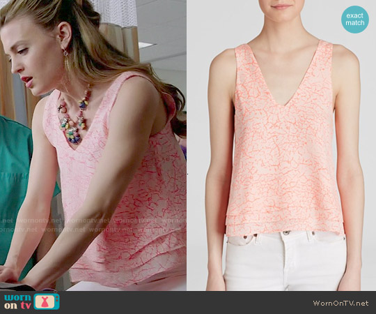 Parker 'Alejandra' Crackle Print Silk Tank worn by Brooke D'Orsay on Royal Pains