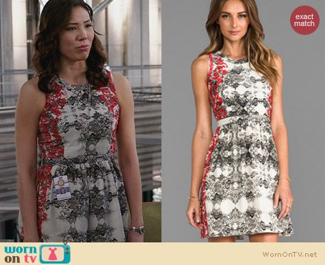 Parker Ancho Dress in Poinsettia worn by Michaela Conlin on Bones
