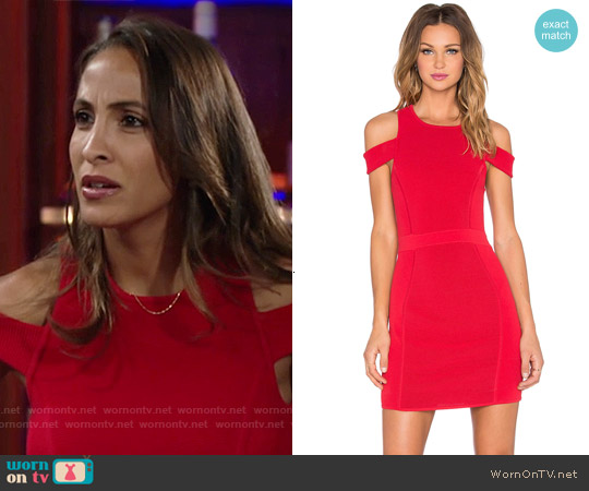 Parker Boomerang Dress in Poinsettia worn by Christel Khalil on The Young & the Restless