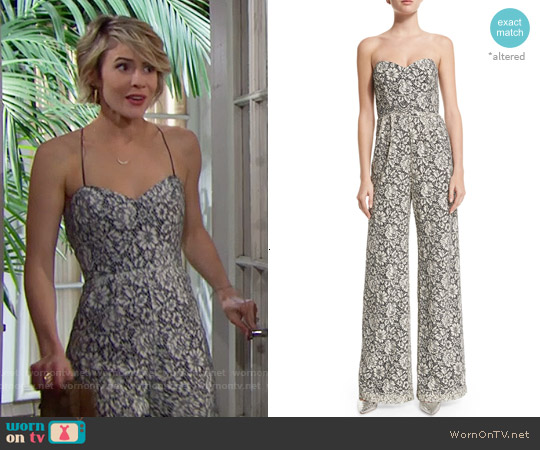 Parker 'Cay' Lace Jumpsuit worn by Linsey Godfrey on The Bold & the Beautiful
