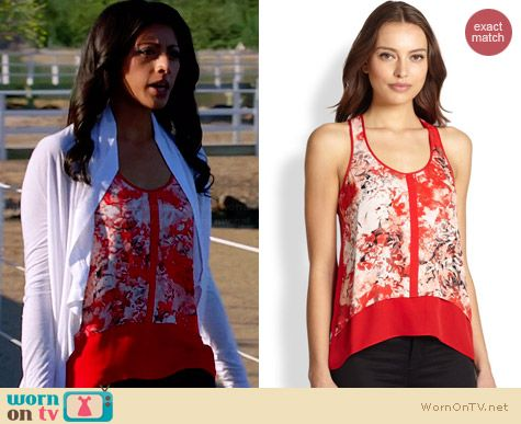 Parker Embry Floral Silk Tank worn by Reshma Shetty on Royal Pains