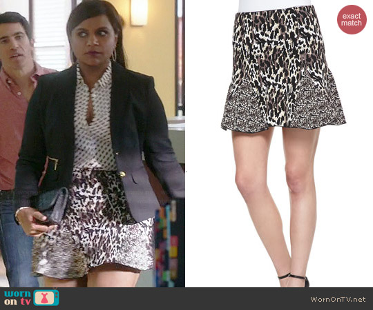 Parker Kenna Mixed Animal Skirt worn by Mindy Kaling on The Mindy Project