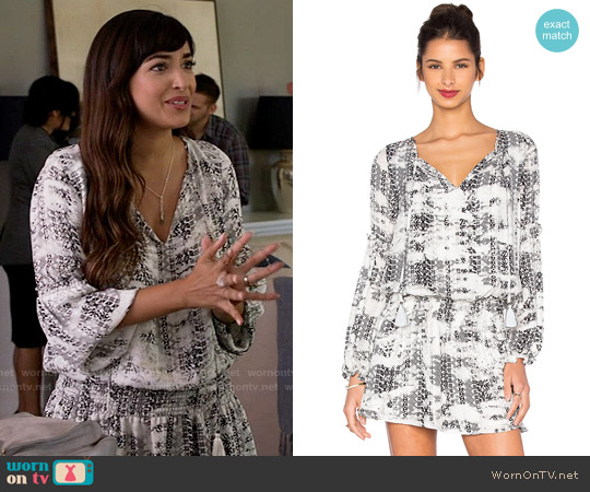 Parker Maeve Dress in Black Graphic worn by Hannah Simone on New Girl
