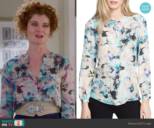 Parker Meade Blouse in Floreale worn by Rebecca Wisocky on Devious Maids
