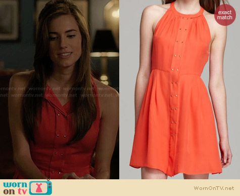 Parker Nicole Studded Dress in Melon worn by Alison Williams on Girls