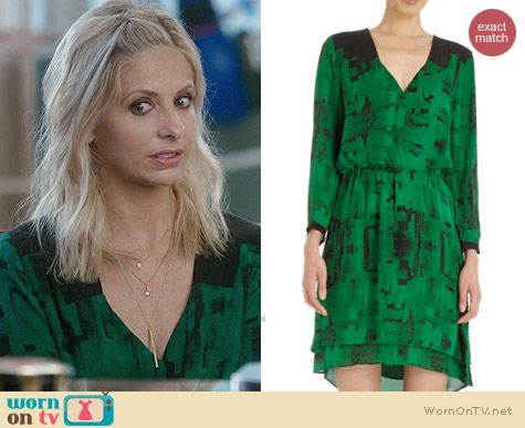 Parker Printed Crossover Dress worn by Sarah Michelle Gellar on The Crazy Ones