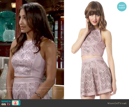 Parker Ravid Tank and Filomena Leather Skirt worn by Christel Khalil on The Young & the Restless