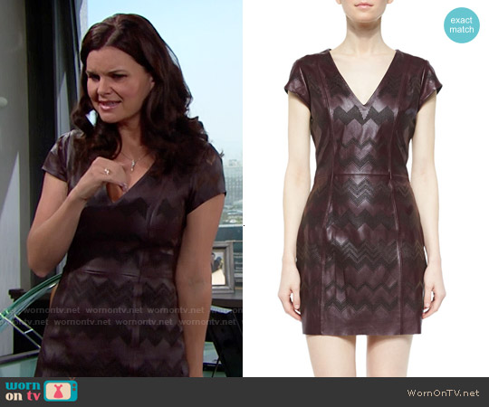 Parker Serena Leather Sheath Dress worn by Rena Sofer on The Bold & the Beautiful