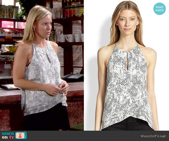 Parker 'Sheila' Silk Tank in Silver Avalanche worn by Sharon Case on The Young & the Restless