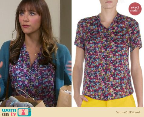 Parks & Rec Fashion: Band of Outsiders floral blouse worn by Rashida Jones