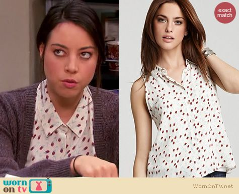 Parks and Rec Fashion: Equipment 'Mina' blouse in tulip shower print worn by Aubrey Plaza