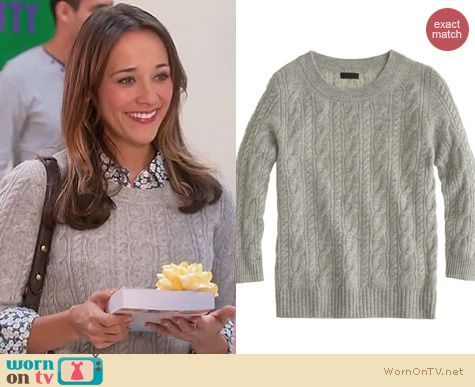 Parks & Rec Fashion: J. Crew collection cashmere cable sweater worn by Rashida Jones