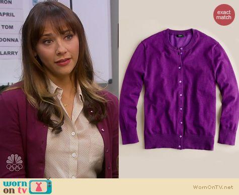 Parks & Rec Fashion: J. Crew Jackie Cardigan in Fiesta Purple worn by Rashida Jones