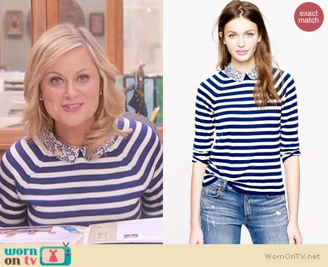 Parks and Rec Fashion: J. Crew Liberty Collar striped merino sweater worn by Amy Poehler