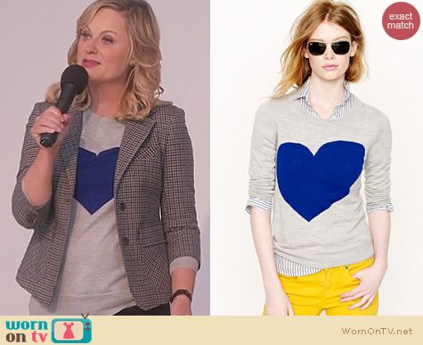Parks and Rec Fashion: J. Crew Tippi 'Heart Me' sweater worn by Amy Poehler