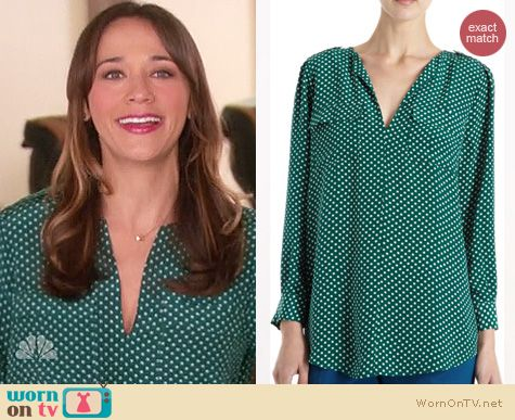 Parks & Rec Fashion: Joie Marlo dotted blouse worn by Rashida Jones