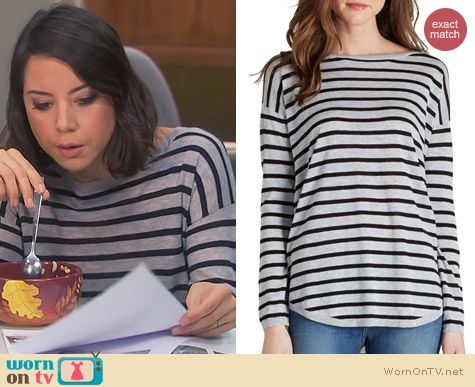 Parks & Rec Fashion: Joie Millie Striped Top worn by Aubrey Plaza