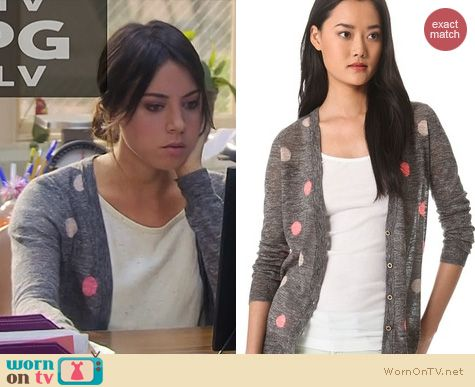 Parks & Rec Fashion: Madewell Double Dots Cardigan worn by April Ludgate