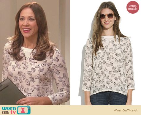Parks and Rec Fashion: Madewell Silk-front tee in ginghma bow worn by Rashida Jones