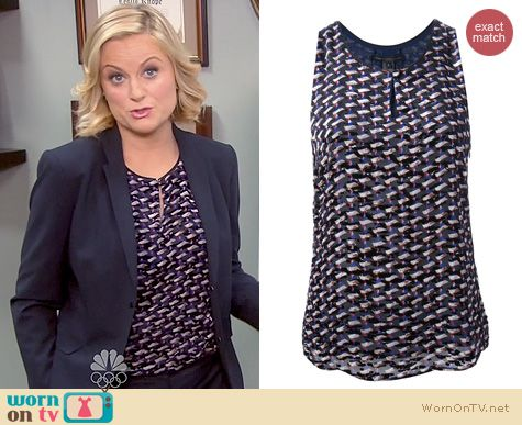 Parks & Rec Fashion: Marc by Marc Jacobs Puzzle print Keyhole Tank worn by Amy Poehler