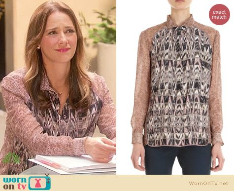 Parks and Rec Fashion: O'2nd Delphi print blouse worn by Rashida Jones
