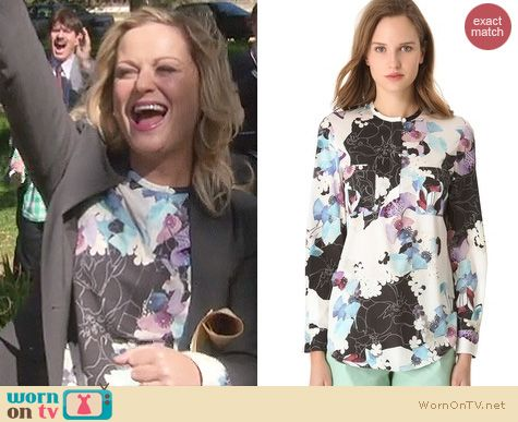 Parks and Rec Fashion: Phillip Lim scrapbook floral blouse worn by Amy Poehler