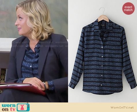 Parks & Rec Fashion: Steven Alan Silk Boyfriend Shirt worn by Amy Poehler