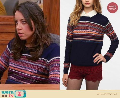 Parks & Rec Fashion: Urban Outfitters Pins and Needles Reverse Fair Isle sweater worn by Aubrey Plaza