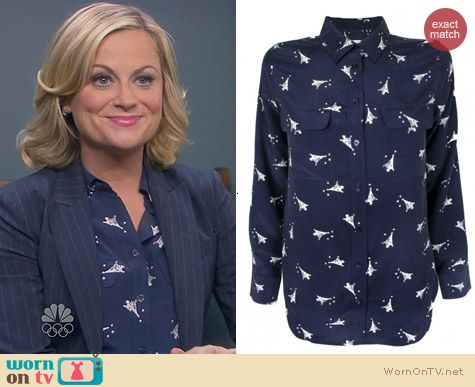 Parks & Rec Fashion: Equipment Eiffel Tower Print Blouse worn by Amy Poehler