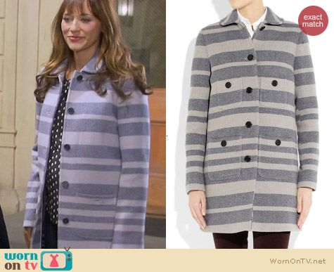 Parks & Rec Fashion: J. Crew Stadium Striped Engineer Coat worn by Rashida Jones