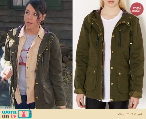 Parks & Rec Fashion: Topshop Green Hooded Duke Jacket worn by Aubrey Plaza