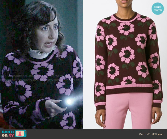 PAROSH Floral Pattern Sweater worn by Kristen Schaal on Last Man On Earth