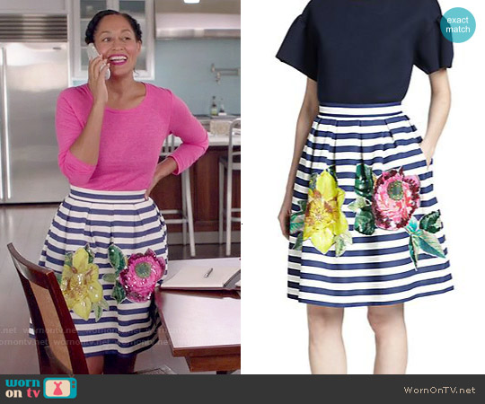 P.A.R.O.S.H. Floral-Embellished Striped Skirt worn by Tracee Ellis Ross on Blackish