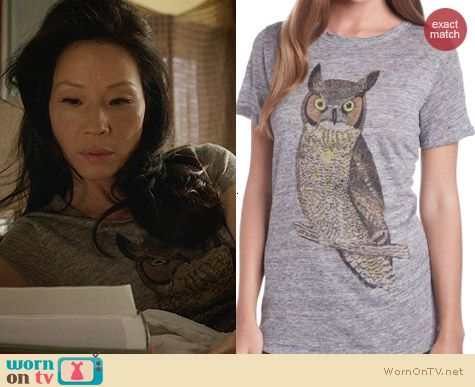 Patterson J Kincaid Classic Crew Owl Tee worn by Lucy Liu on Elementary