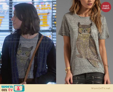 Patterson J Kincaid Classic Owl Crew Tee worn by Aubrey Plaza on Parks & Rec