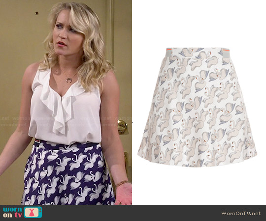 Paul & Joe Sister Swan Print A-Line Skirt worn by Emily Osment on Young & Hungry