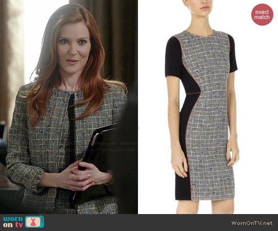 Paul Smith Black and Grey Checked Tweed Dress worn by Darby Stanchfield on Scandal