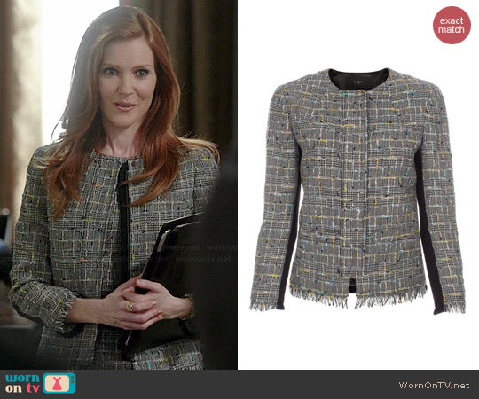 Paul Smith Black and Grey Checked Tweed Jacket worn by Darby Stanchfield on Scandal