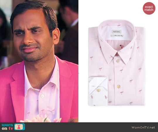 Paul Smith Flamingo Gradient Shirt worn by Aziz Ansari on Parks & Rec