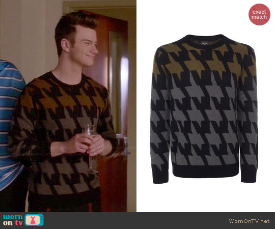 Paul Smith Oversized Houndstooth Sweater worn by Chris Colfer on Glee