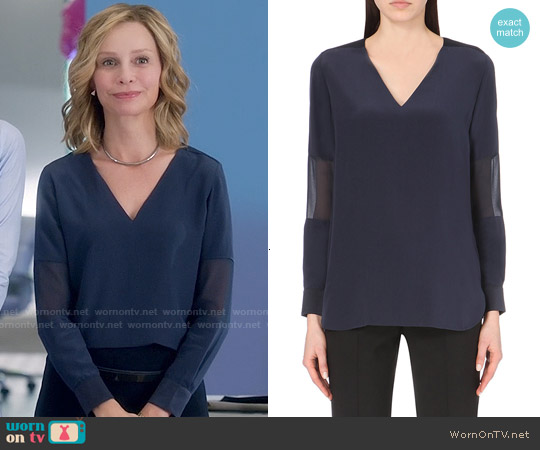 Paul Smith Sheer Panel Silk Top worn by Calista Flockhart on Supergirl