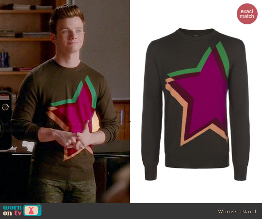 Paul Smith Star Sweater worn by Chris Colfer on Glee
