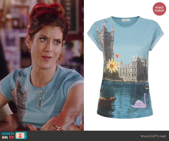 Paul Smith Turquoise Swan Postcard Print T-shirt worn by Kate Walsh on Bad Judge