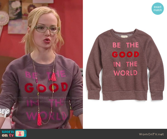 Peek 'Be The Good in the World' Crewneck Sweatshirt worn by Dove Cameron on Liv & Maddie